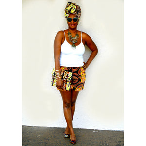 Yellow Amani Ankara Print Headwrap - Zabba Designs African Clothing Store