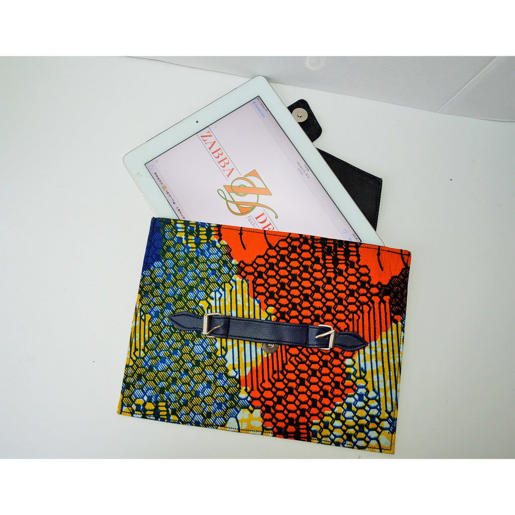 Blue And Orange African Print IPad Cover - Zabba Designs African Clothing Store