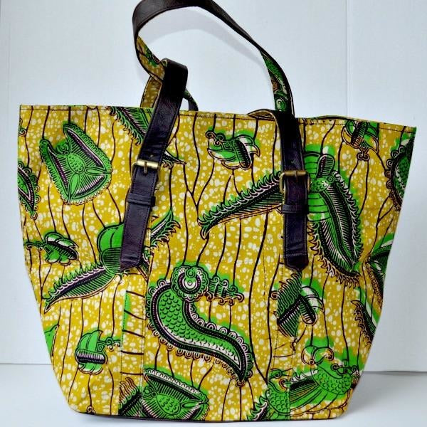 Green African Print Tote Bag - Zabba Designs African Clothing Store