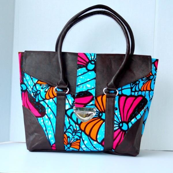 Navy African Print Bag, The Eliza Bag - Zabba Designs African Clothing Store