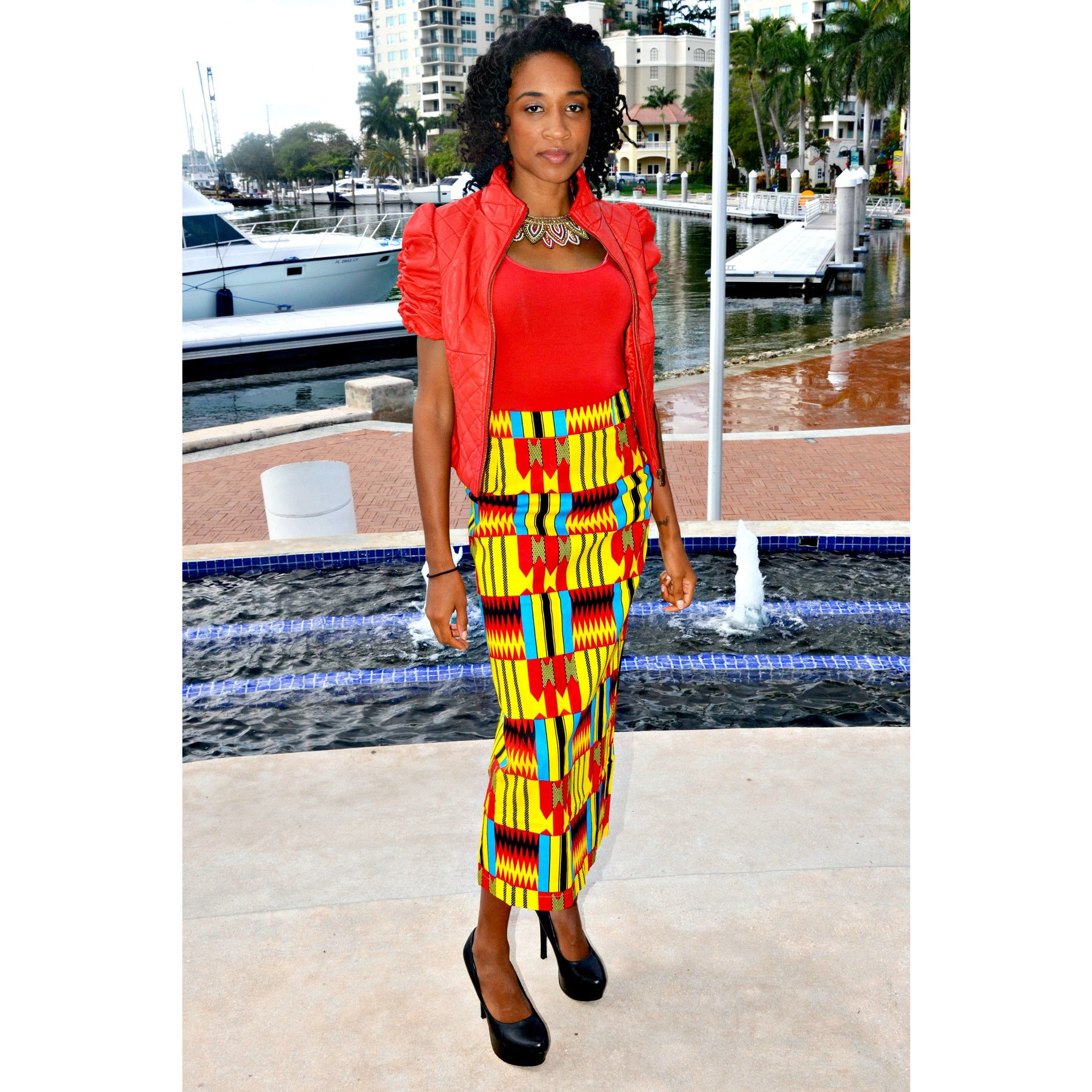 886ae3d85 Ansu African Kente Print Pencil Skirt - Zabba Designs African Clothing Store