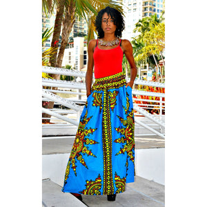 KOKO Womens  Dashiki Print Maxi Skirt - Zabba Designs African Clothing Store