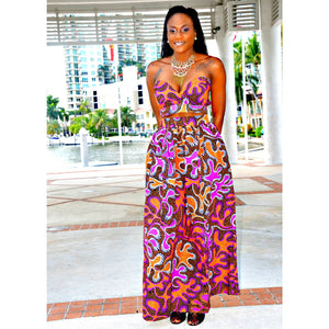Cache African Print Maxi Set - Zabba Designs African Clothing Store