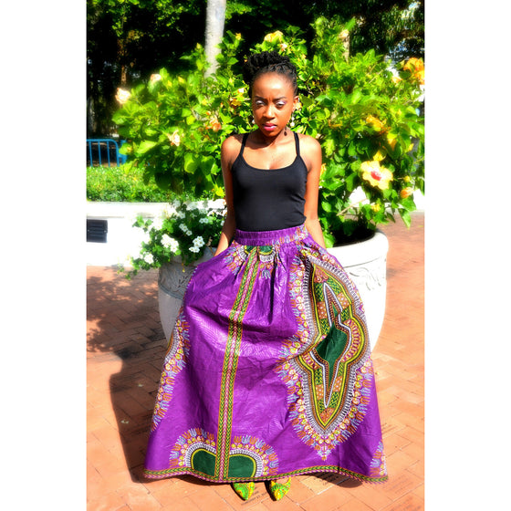 IMANI Dashiki Print Maxi Skirt - Zabba Designs African Clothing Store  - 1