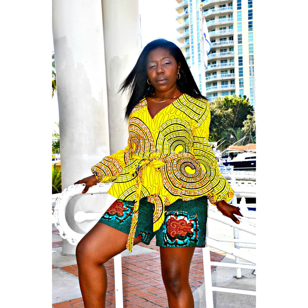 Tau African Print Shorts Set - Zabba Designs African Clothing Store  - 4