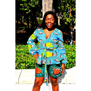 Oni African Print Shorts Set - Zabba Designs African Clothing Store  - 3