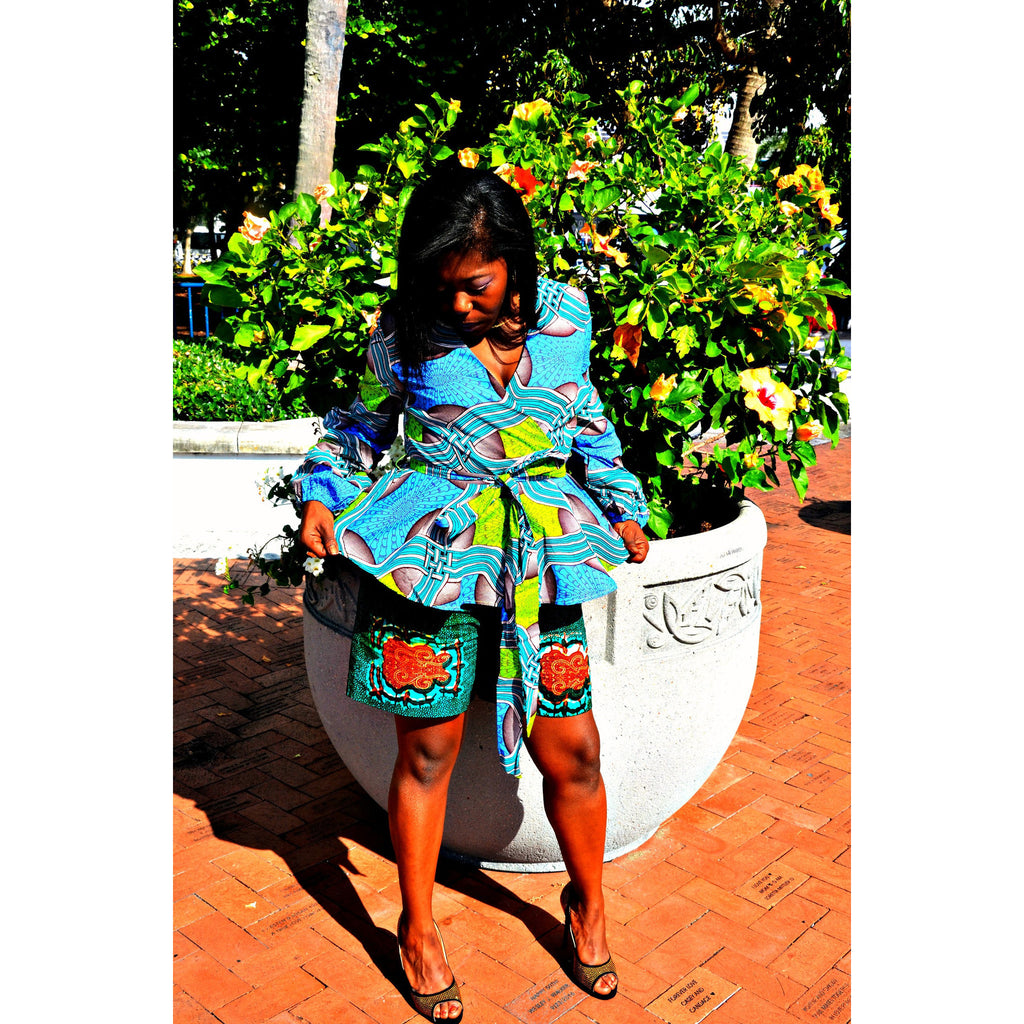 Oni African Print Shorts Set - Zabba Designs African Clothing Store  - 4
