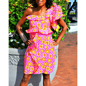 Seekie African Print Ruffle Dress - Zabba Designs African Clothing Store  - 1