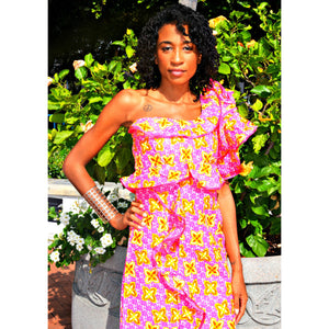 Seekie African Print Ruffle Dress - Zabba Designs African Clothing Store