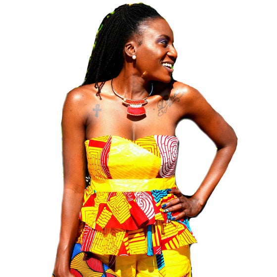 Yellow And Red  African Ankara Print Short Set - Zabba Designs African Clothing Store  - 2