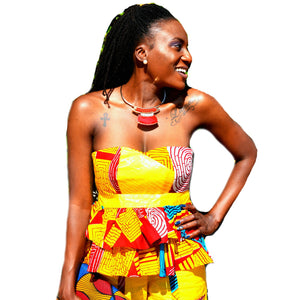 FYNN Yellow And Red African Short Set - Zabba Designs African Clothing Store
