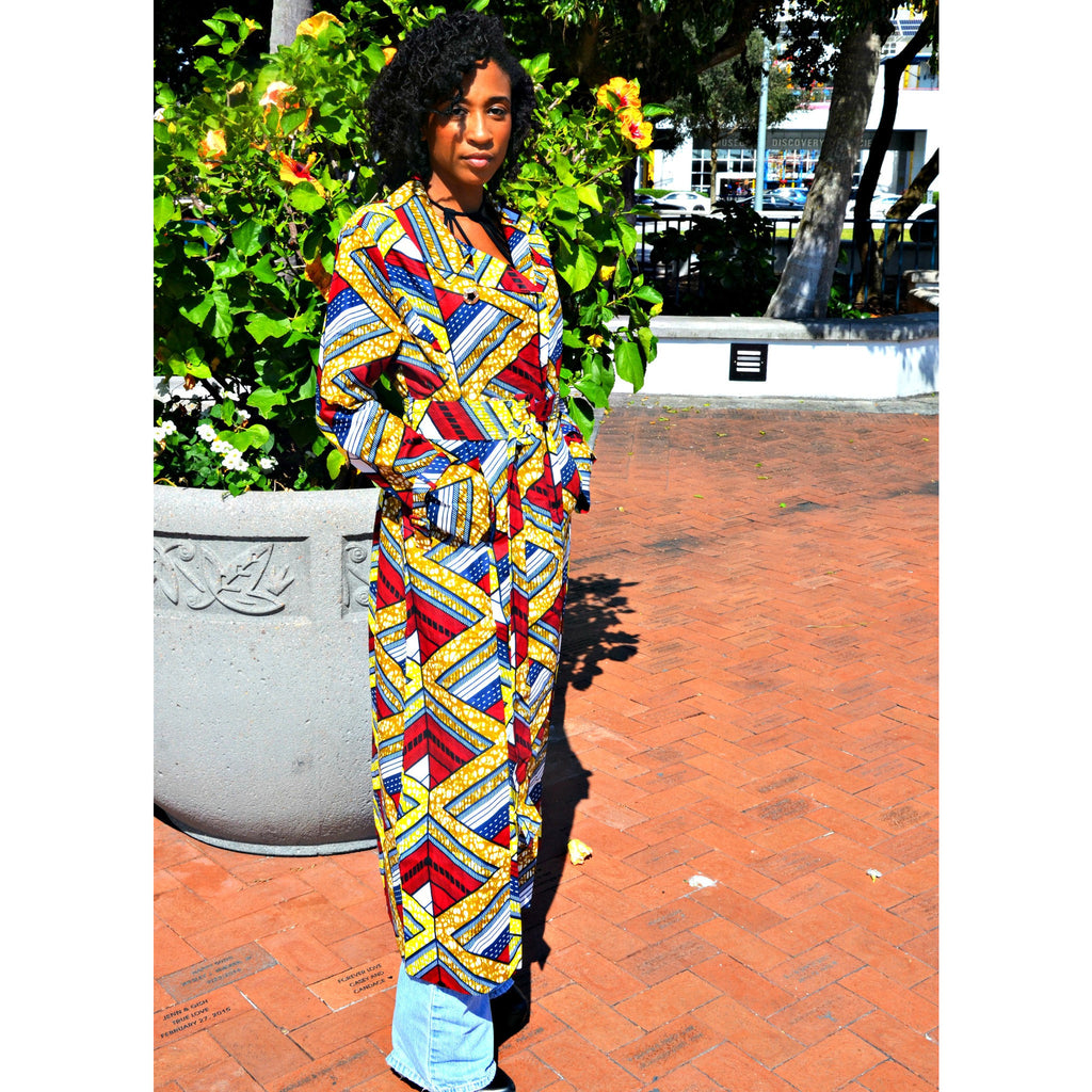 Emeka  Double-Breasted Belted African Print Water Resistant Trench Coat - Zabba Designs African Clothing Store  - 3