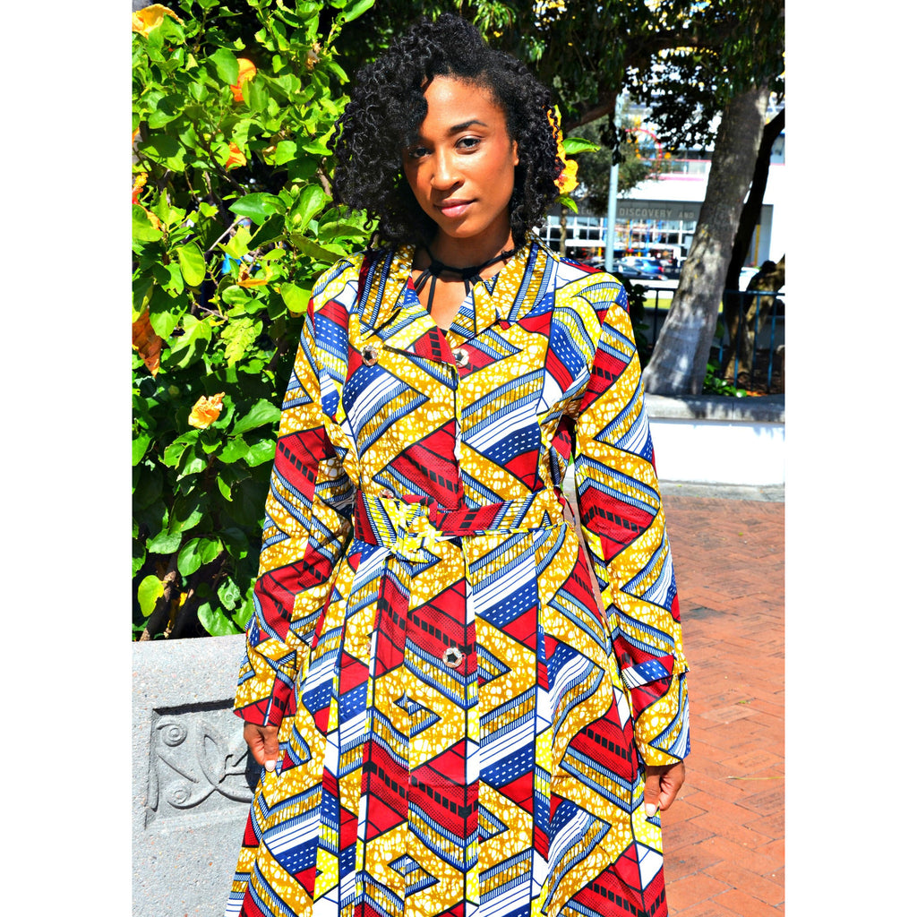 Emeka  Double-Breasted Belted African Print Water Resistant Trench Coat - Zabba Designs African Clothing Store  - 4