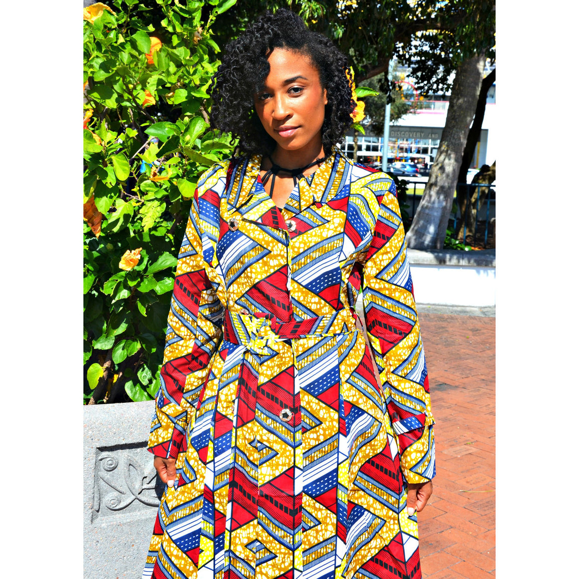 Emeka  Double-Breasted Belted African Print Trench Coat - Zabba Designs African Clothing Store