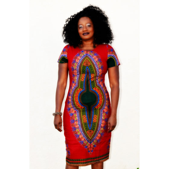 ALAYA African Print Dashiki  Midi Dress - Zabba Designs African Clothing Store  - 1