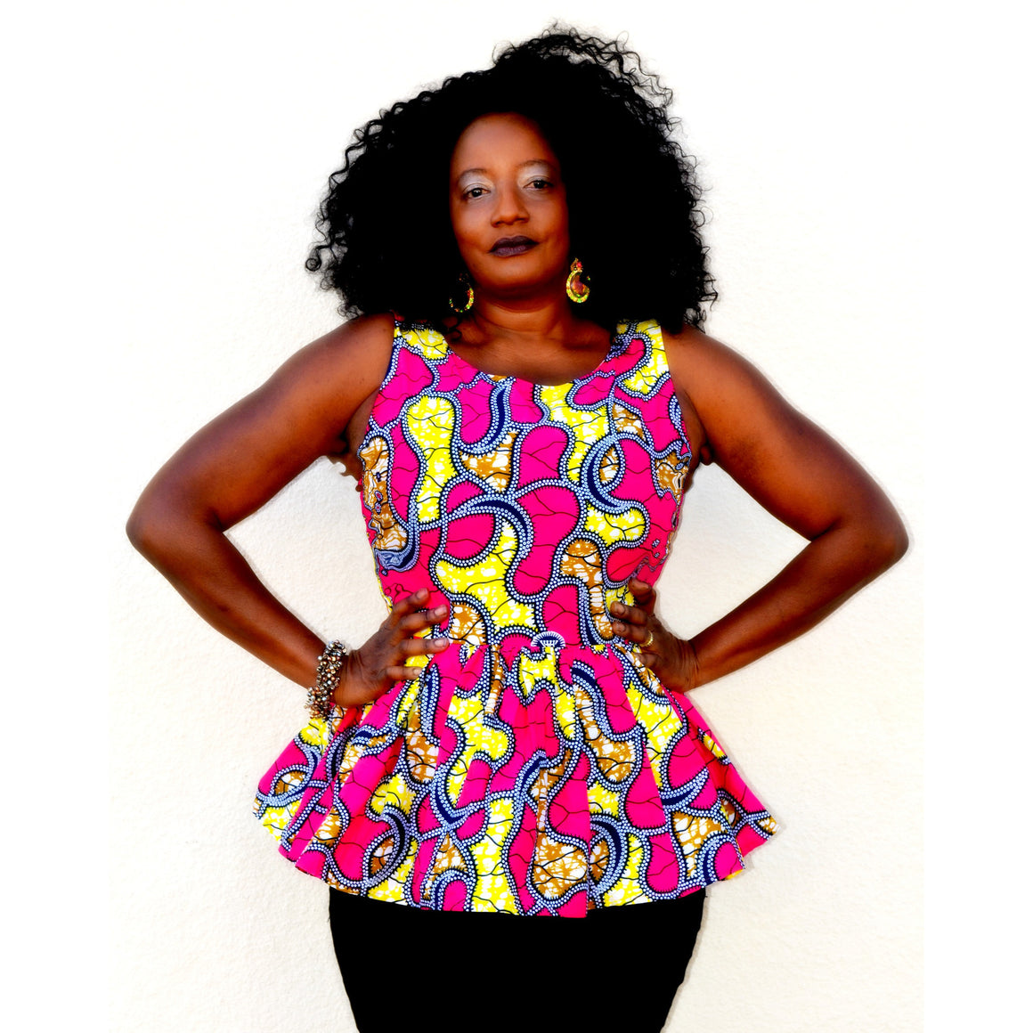 Maneh African Print Peplum Top - Zabba Designs African Clothing Store