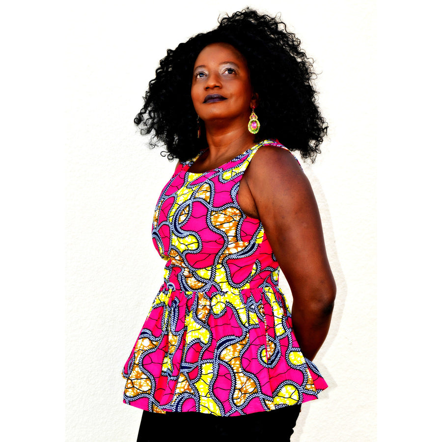 Maneh African Print Peplum Top - Zabba Designs African Clothing Store  - 1