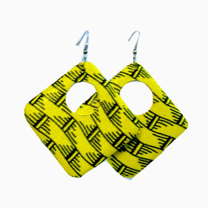 African Art Deco Square Wood Earrings - Zabba Designs African Clothing Store