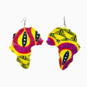 Yellow Map Of  Africa Earrings - Zabba Designs African Clothing Store