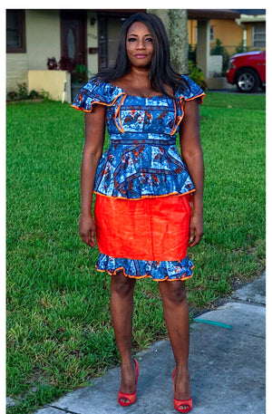 Tutu African Print Blue And Orange Skirt Suit - Zabba Designs African Clothing Store