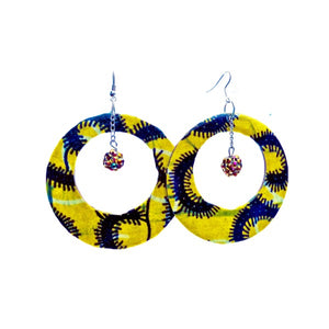Yellow African Fabric Cover Earrings