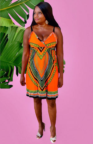 Knee Length Orange Sleeveless Spaghetti Strap Dress - Zabba Designs African Clothing Store