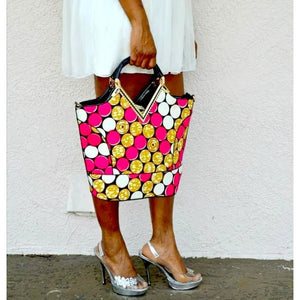 Flow African Ankara Print Top Handle Tote Bag - Zabba Designs African Clothing Store
