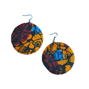 Tribal African Orange And Brown Earrings - Zabba Designs African Clothing Store