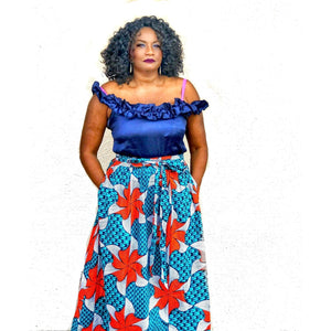 Blue Poppy Ankara Print Maxi Skirt - Zabba Designs African Clothing Store