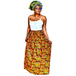Kente Print  Long Skirt ~ The AQUA - Zabba Designs African Clothing Store