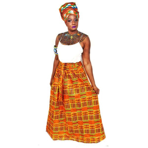 Kente African Print Momo Peach Head Wrap - Zabba Designs African Clothing Store