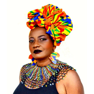 Maasai African Print HeadWrap - Zabba Designs African Clothing Store