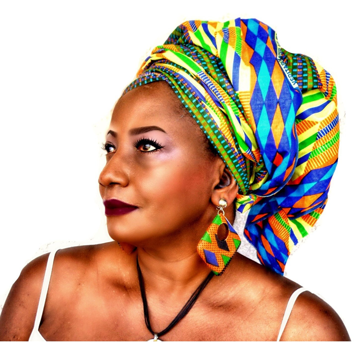 African Kente Print Headwrap The Kru - Zabba Designs African Clothing Store