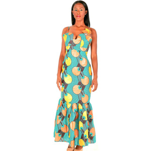 Green And Brown Ankara Print African Maxi Dress - Zabba Designs African Clothing Store