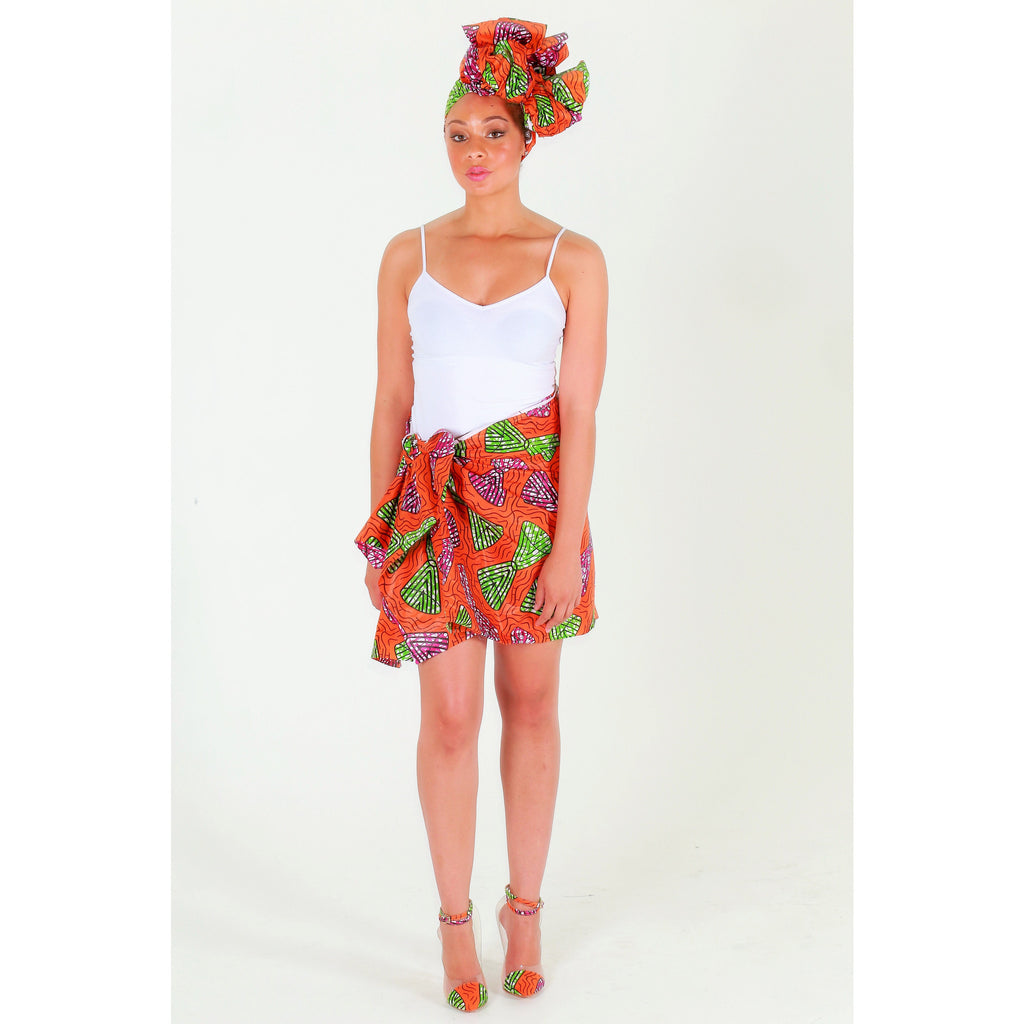 Orange African Print Headwrap ~  The mujer fuerte - Zabba Designs African Clothing Store