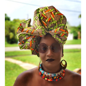 Suiren Lotus African Print  HeadWrap - Zabba Designs African Clothing Store