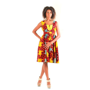 Mattie African inspired Yellow Midi Dress - Zabba Designs African Clothing Store