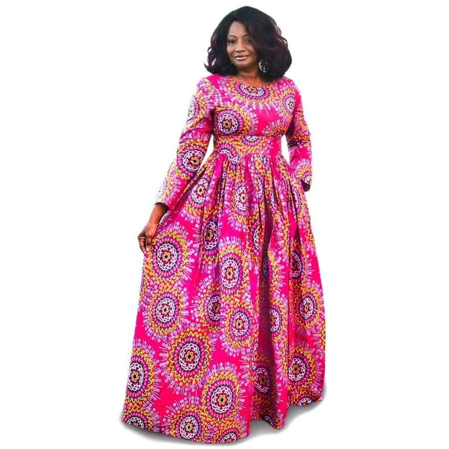 AKU African Print Long Sleeve Maxi Dress - Zabba Designs African Clothing Store
