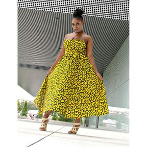Yellow Midi Dress - Zabba Designs African Clothing Store
