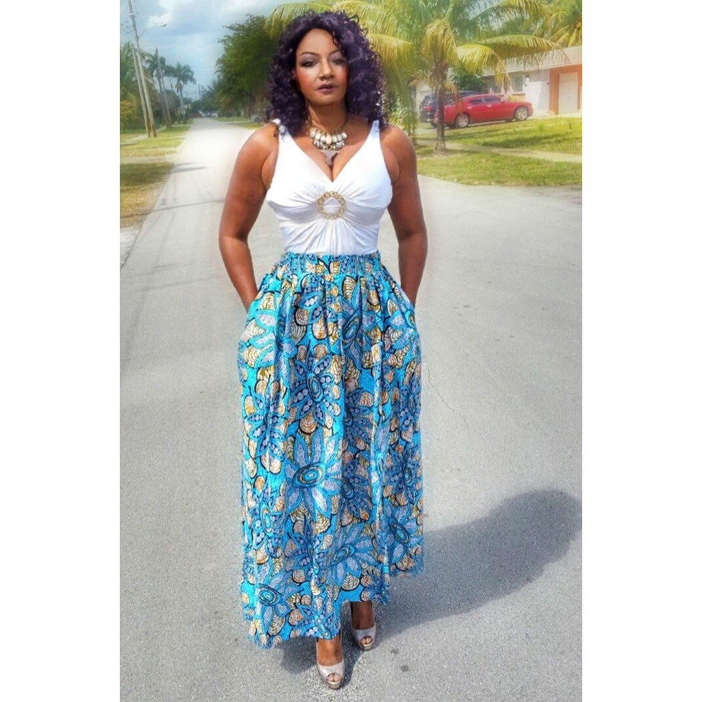 COCOA African Print Maxi Skirt