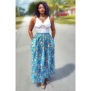 COCOA African Print Maxi Skirt - Zabba Designs African Clothing Store