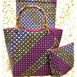 Plantation Purple Ankara African Fabric Print and Bag with Wallet Set