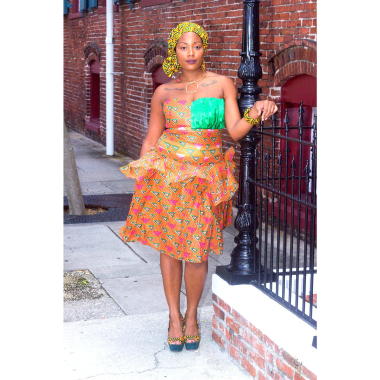 IMANI African  Midi Dress - Zabba Designs African Clothing Store  - 1