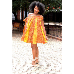 Dacia African Print  Geometric Swing Mini Dress - Zabba Designs African Clothing Store
