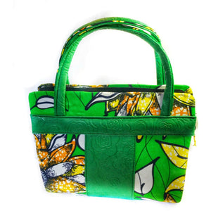 Green Tribal Print Handle Bag - Zabba Designs African Clothing Store