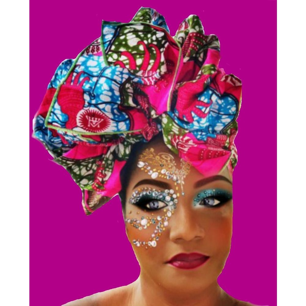 African Print Himawari  Head Wrap - Zabba Designs African Clothing Store