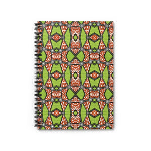 Green Ankara Print Spiral Notebook - Ruled Line - Zabba Designs African Clothing Store
