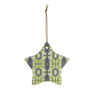 Green African Print  Ceramic Ornaments - Zabba Designs African Clothing Store