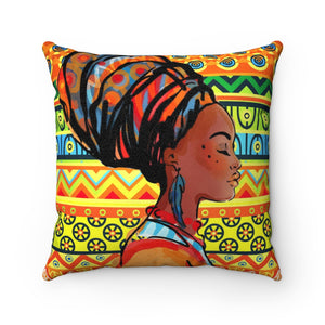 Maria African Inspired Throw Suede Square Pillow Case - Zabba Designs African Clothing Store