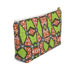 Green African Inspired Make up Pouch w T-bottom - Zabba Designs African Clothing Store